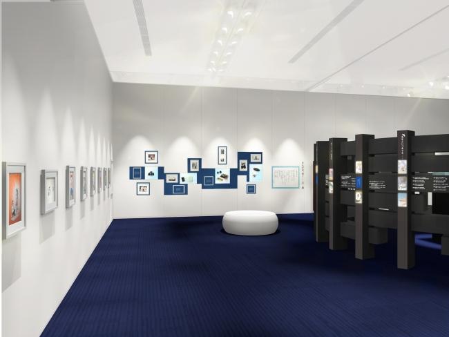 ベレー帽やカメラなど藤子氏愛用の品を展示代表作のカラー原画も展示